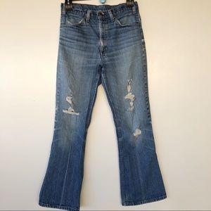 Vintage orange tag Levi's jeans destress